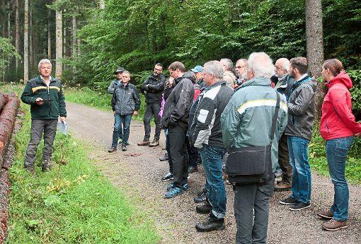 In einem lehrreichen  Waldbegang sammelten die Mitglieder der Gemeinde- und Ortschaftsgremien neues Wissen zur Bewirtschaftung des Gemeindewaldes.   Foto: Wagner Foto: Schwarzwälder-Bote