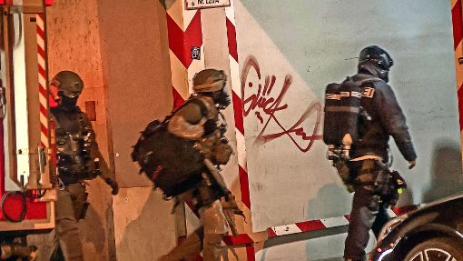 Mit rund 40 Beamten war die Polizei in der Nacht im Einsatz. Foto: SDMG