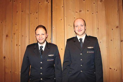 Michael Becker, Feuerwehr-Abteilungskommandant (links) mit Stellvertreter Tim Mailänder.  Foto: Rademacher Foto: Schwarzwälder Bote