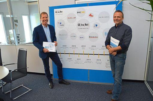 Getranet-Vorstand Walter Ruesch (links)  und RKT-Niederlassungsleiter Lothar Teufel  Foto: Fritsche Foto: Schwarzwälder Bote