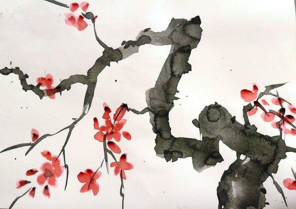 Japanische Kunst Berg Blüte Kunstdruck Poster ungerahmt Bild DIN A4 A3 K0036