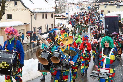 Zu jedem Narrenumzug gehören auch Musikgruppen oder wie hier die Bachschalmeien aus Rötenbach. Foto: Bächle