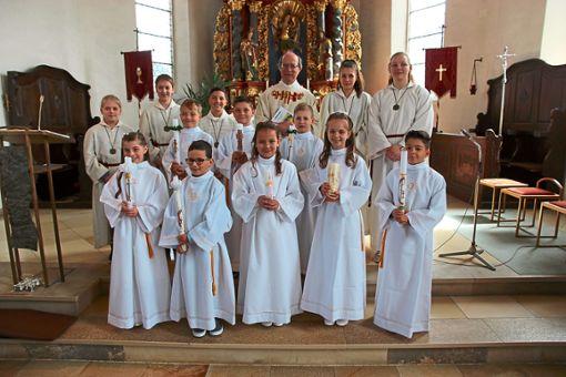 Acht Kinder feierten am Sonntag in Göttelfingen ihre Erstkommunion.  Foto: Feinler Foto: Schwarzwälder Bote