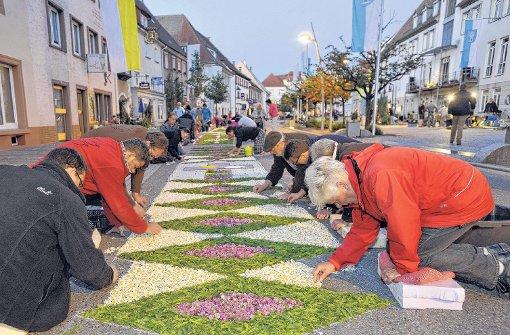 In Hüfingen kann der 450 Meter lange Blütenteppich für die Prozession nicht gelegt werden - weil die nötigen Wiesenblumen noch nicht soweit sind. Foto: Sigwart