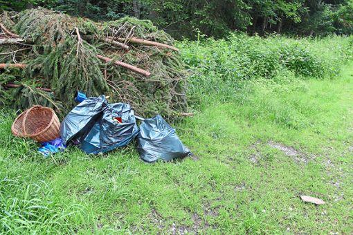 An anderer Stelle im selben Waldgebiet an der Wasenstraße wurden feinsäuberlich Müllsäcke abgestellt. Foto: Pohl