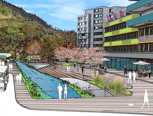 Zum Stadtumbau gehört auch die Neugestaltung des Bereichs beim jetzigen Busbahnhof.  Grafik: Stadt Foto: Schwarzwälder Bote