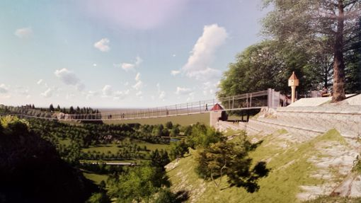 Der Hängebrückeneinstieg am Bockshof ist denkmalschutzrechtlich gesehen kritisch. Foto: Montage: kts Innovations