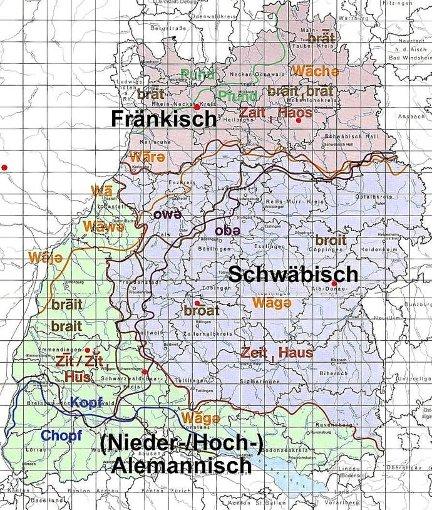 Was heißt hier Schwäbisch? Die Landkarte zeigt, wie vielfältig die Mundart im Südwesten ist. Zu den Hauptdialakten kommen noch zahllose regionale und lokale Zungenschläge. Foto: sb