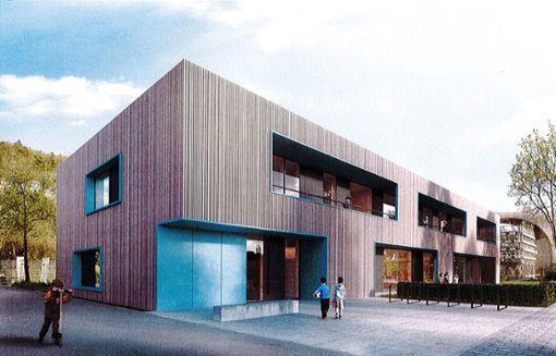 So könnte die erweiterte Kindertagesstätte im Riedbrunnen einmal aussehen.  Grafik: Stadt Nagold Foto: Schwarzwälder Bote