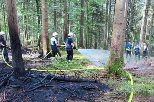 Feuerwehrleute und Polizisten an der Brandstelle im Gebiet Baumgarten.  Foto: Weis