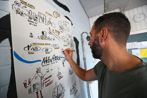 Die Eyach als Trennlinie: Illustrator Michael Geis zeichnet die Vorstellungen der Jugendlichen zum Aktivpark auf – oberhalb, was dort verwirklicht werden soll, darunter alles, was nach Meinung der Schüler  dort nicht hingehört.    Fotos: Maier Foto: Schwarzwälder Bote