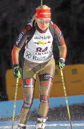 Biathletin Janina Hettich aus Lauterbach auf der Strecke in Martell.  Foto: Borho Foto: Schwarzwälder-Bote