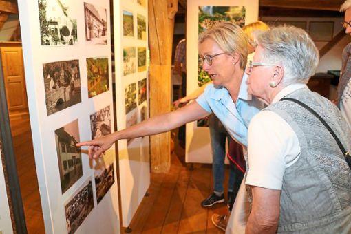 Die historischen Wildberger Stadtansichten boten bei der Ausstellungseröffnung viel Gesprächsstoff.  Foto: Geisel Foto: Schwarzwälder Bote