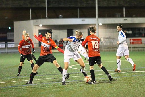 Schon in der Vorbereitung auf die Rückrunde waren die TSG Balingen und der FC 07 Albstadt zu Beginn des Jahres aufeinander getroffen. Damals trotzten die Nullsiebener dem späteren Oberligameister ein 1:1-Unentschieden ab. Foto: Kara