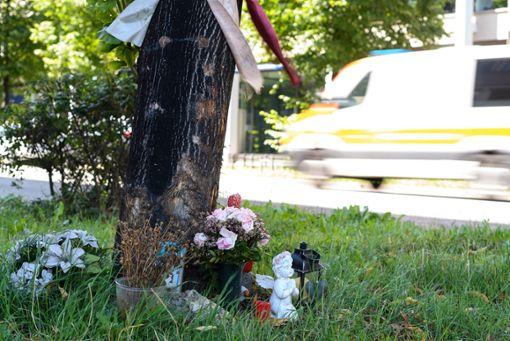 Blumen stehen an der Unfallstelle, an der im März 2019 zwei Menschen gestorben sind.  Foto: dpa