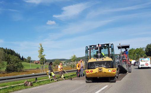 An vier Stellen an der B33 auf Höhe Peterzell wird der Belag erneuert. Im Baustellenbereich ist die stark befahrene Bundesstraße halbseitig gesperrt. Foto: Reutter