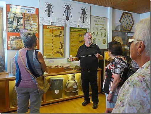 Museumsleiter Karl Pfefferle vor dem gläsernen Bienenstock, der spannende Einblicke bot.  Foto: Frauengemeinschaft Foto: Schwarzwälder Bote
