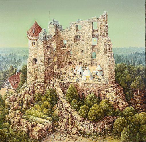 Die Burgruine Herrenzimmern – wie sie Maler Norbert Stockhus sieht.   Foto: Kimmich Foto: Schwarzwälder Bote