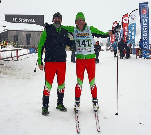 Thomas Huber (links) und Jochen Menath nach dem Zieleinlauf.  Foto: Albrecht Foto: Schwarzwälder Bote