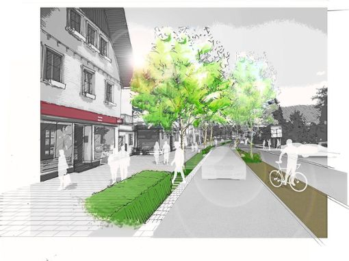 So soll die Ortsdurchfahrt einmal aussehen. Foto: Visualisierung: Gemeinde