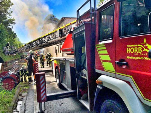 200 Feuerwehrleute waren bis in die Nacht im Einsatz. Foto: Feuerwehr Horb