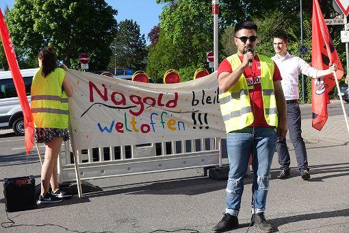 Jusos haben in Nagold gegen die Afd demonstriert. Foto: Thomas Fritsch