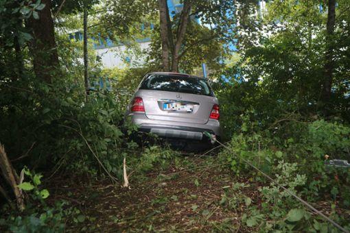Rettungskräfte befreiten den Fahrer aus seinem Auto. Foto: Müller