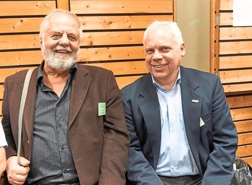 Rudolf Barth und  Matthias Lieb bei einem Vortrag zu den Schienentagen.  Foto: Lück Foto: Schwarzwälder Bote