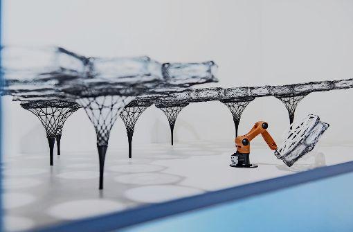 Vorbild  Käferflügel: das Modell zeigt einen Roboter, der eine  filigrane Konstruktion erstellt. Foto: Max Kovalenko/SMNS, Naaro