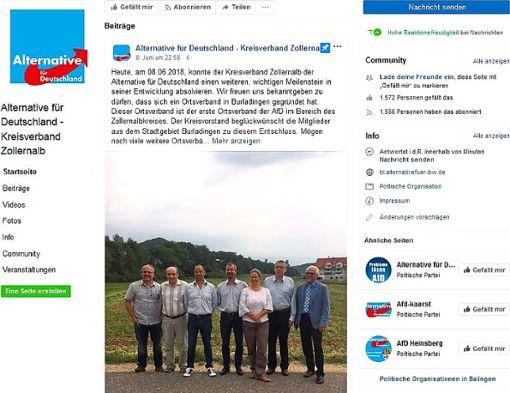 Im Sozialen Netzwerk Facebook gibt der Kreisverband Zollernalb der AfD die Gründung des Ortsverbandes Burladingen bekannt. Stellung nehmen wollte sein Sprecher Joachim Steyer dazu allerdings nicht, es gab bislang auch keine Pressemitteilung.    Screenshot: Facebook