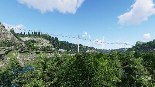 So könnte die Hängebrücke etwa aussehen, die in Rottweil die Innenstadt mit dem Berner Feld verbinden soll. Grafik: KTS Innovations