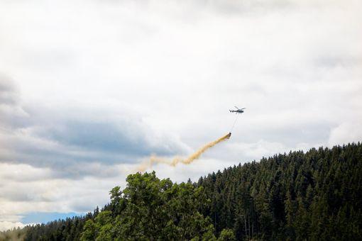 Mit Hubschraubern wird die Waldkalkung in VS in den nächsten Wochen durchgeführt.  Foto: Regierungspräsidium Freiburg Foto: Schwarzwälder Bote
