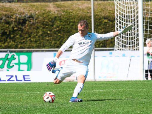 Nur vom Elfmeterpunkt bezwungen wurde TSG-Torhüter Julian Hauser beim Testspiel gegen Großaspach.  Foto: Kara