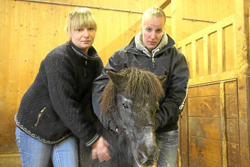 Das Shetlandpony Sir Donnerhall lebt nicht mehr. Katrin Mäder (rechts) und Chiara Sukale trauern mit Max momentan nicht nur um das Reit- und Therapiepferd der Feldner Mühle.   Foto: Archiv-Foto: Heinig