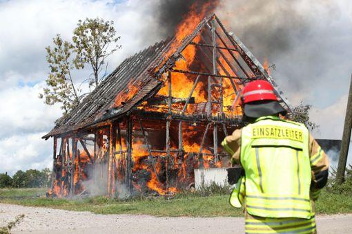 Der Schuppen brannte komplett ab und stürzte dann ein. Foto: Marc Eich