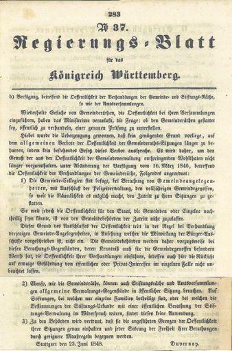 Mit diesem Schriftstück  verfügte Innenminister Gustav Duvernoy 1848, dass Sitzungen des Gemeinderats öffentlich sind. Foto: Würfele