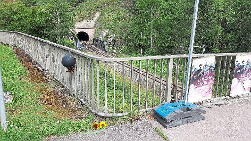 Blumen erinnern an das Unglück: Ein 57-jähriger Radfahrer ist am Samstagmorgen gegen das Brückengeländer im Neckartal geprallt und acht Meter in die Tiefe gestürzt. Foto: Otto
