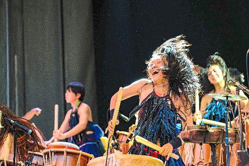 Die Musiker der Taiko-Band Gocoo trommelten in der Klosterruine Hirsau voller Energie und Euphorie.    Foto: Fritsch
