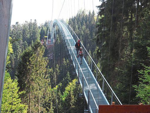 Nach der Freigabe für die Allgemeinheit ist der Betrieb an der Bad Wildbader Hängebrücke schon angelaufen. Foto: Mutschler