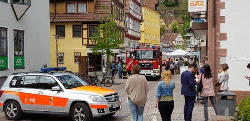 Ein Großaufgebot an Rettungskräften wurde am Donnerstag zu einem Gasalarm in die Kernstadt gerufen. Foto: Kugel/Klormann