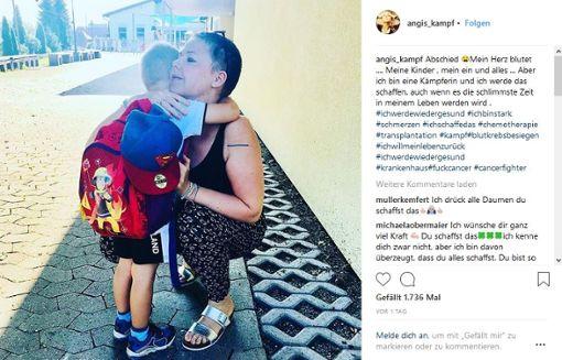 Mit diesem Instagram-Post beschrieb Angela Wehrmann am Dienstag den Abschied von ihrem Sohn. Foto: Screenshot/sb
