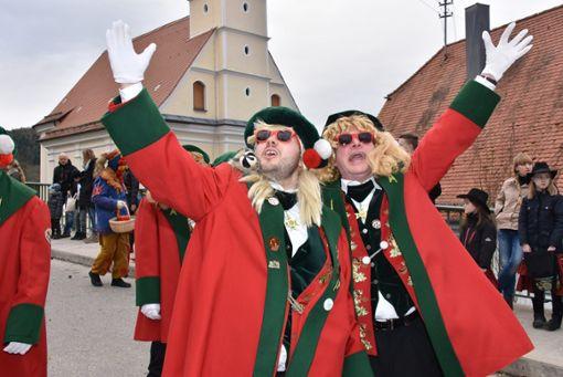 Gut gelaunte Narren und Besucher: Beim Jubiläumsumzug des närrischen Freundschaftsrings Neckar/Gäu in Mühringen herrschte gute Stimmung. Foto: Baiker