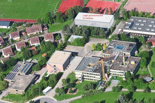Die Container werden auf dem Parkplatz der Stammheimer Gemeindehalle aufgebaut.  Grafik: Stadt Calw