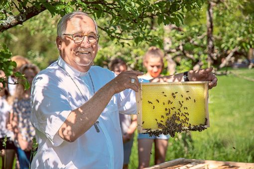 Bischof Gebhard Fürst setzt sich für den Erhalt von Bienen ein. Teil der bischöflichen Aktivitäten rund um den Artenschutz ist daher die Ansiedlung von Bienenvölkern vor dem Bischofshaus in Rottenburg.  Foto: DRS/Jochen Wiedemann Foto: Schwarzwälder Bote