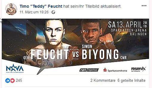 Timo Feucht gegen Simon Biyong: Dieser Kampf steht am Samstagabend in Balingen an. Feucht soll der rechtsradikalen Leipziger Hoologan-Szene angehören.   Foto: Facebook