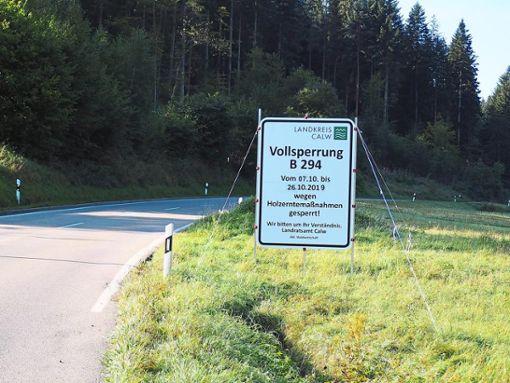 Wegen Holzerntemaßnahmen ist die B 294 zwischen Calmbach und der Agenbacher Sägemühle im Oktober für 19 Tage gesperrt. Foto: Mutschler