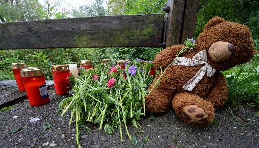 Kuscheltiere und Blumen liegen an dem Ort, an dem die Leiche des Kindes gefunden wurde.  Foto: dpa