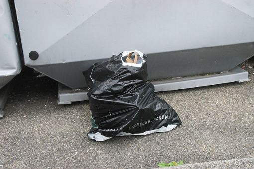 Tüten mit Müll liegen am Container.  Foto: Hertle Foto: Schwarzwälder Bote