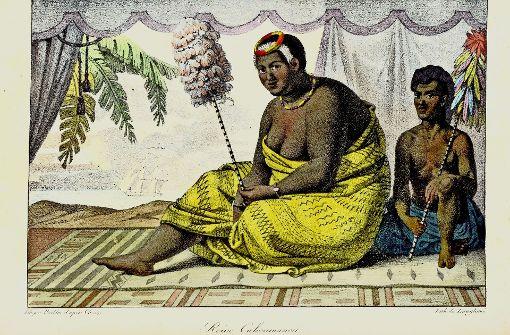 Eine Frau, die in Hawaii Weichen stellte: Auf dem Stich von Ludwig Choris von 1882 sieht man die Königin Ka'ahumanu in traditioneller Kleidung und gefiederten Statussymbol. Sie schafft die alten religiösen Regeln ab und ebnet den Missionaren den Weg. Foto: Stefan Rebsamen, Sharock Shalchi