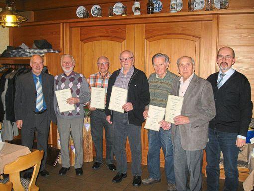 Die Geehrten des Männergesangverein Frohsinn mit ihren Auszeichnungen.  Foto: Verein Foto: Schwarzwälder Bote